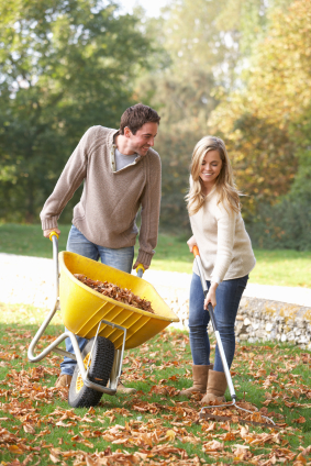 Couple Raking Leaves